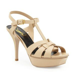 Saint Laurent Tribute Leather 75mm Sandals Poudre
